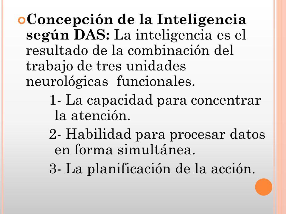 Concepción de la Inteligencia según DAS: La inteligencia es el resultado de la combinación del trabajo de tres unidades neurológicas funcionales.