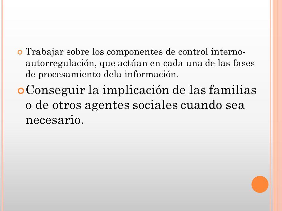 Trabajar sobre los componentes de control interno- autorregulación, que actúan en cada una de las fases de procesamiento dela información.