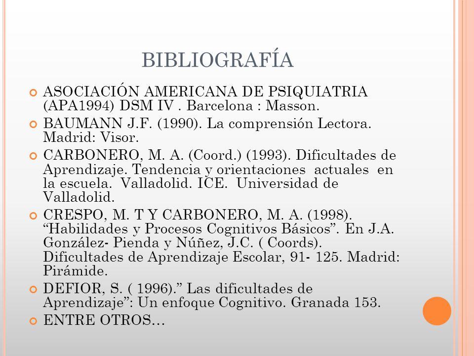BIBLIOGRAFÍA ASOCIACIÓN AMERICANA DE PSIQUIATRIA (APA1994) DSM IV . Barcelona : Masson.