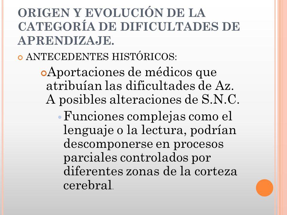 ORIGEN Y EVOLUCIÓN DE LA CATEGORÍA DE DIFICULTADES DE APRENDIZAJE.