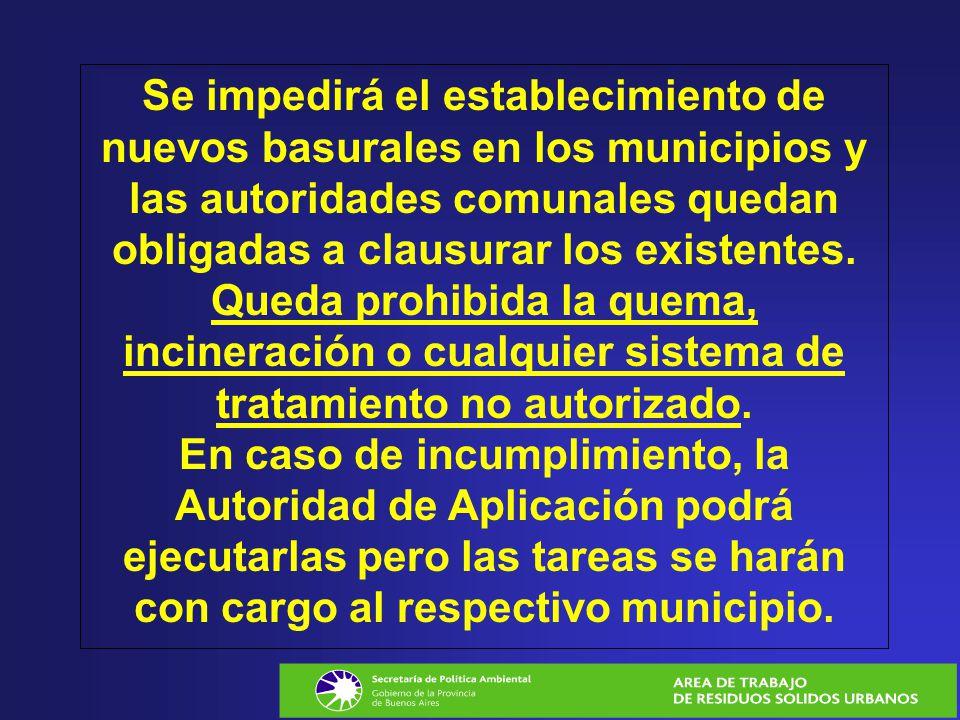 Se impedirá el establecimiento de nuevos basurales en los municipios y las autoridades comunales quedan obligadas a clausurar los existentes.
