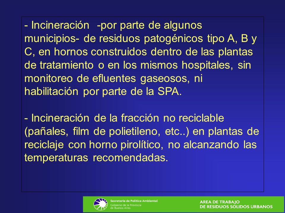 - Incineración -por parte de algunos municipios- de residuos patogénicos tipo A, B y C, en hornos construidos dentro de las plantas de tratamiento o en los mismos hospitales, sin monitoreo de efluentes gaseosos, ni habilitación por parte de la SPA.