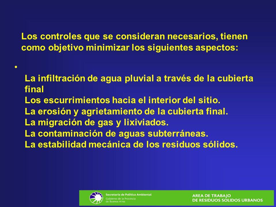 Los controles que se consideran necesarios, tienen como objetivo minimizar los siguientes aspectos: