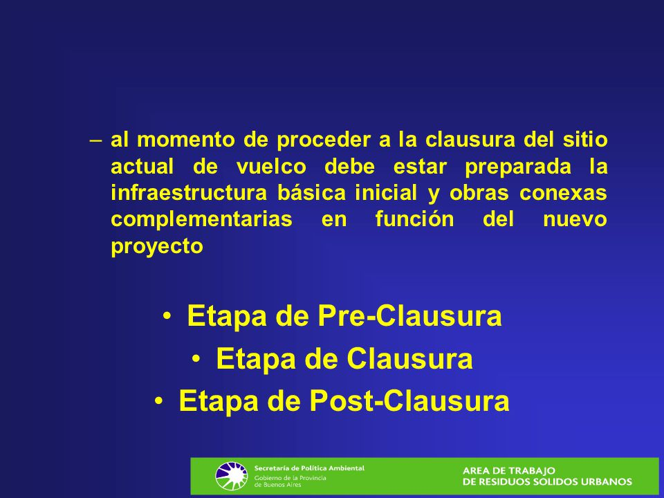 Etapa de Post-Clausura
