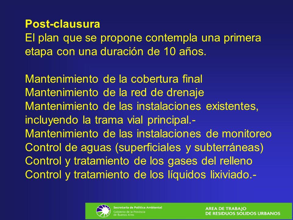 Post-clausura El plan que se propone contempla una primera etapa con una duración de 10 años.