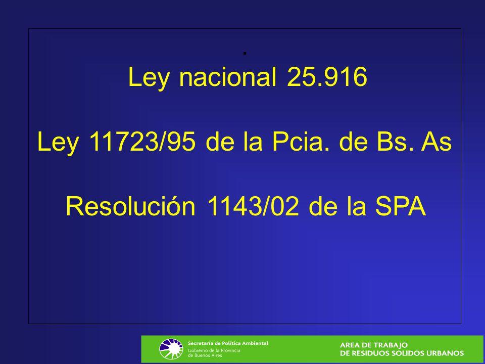 Ley nacional 25. 916 Ley 11723/95 de la Pcia. de Bs