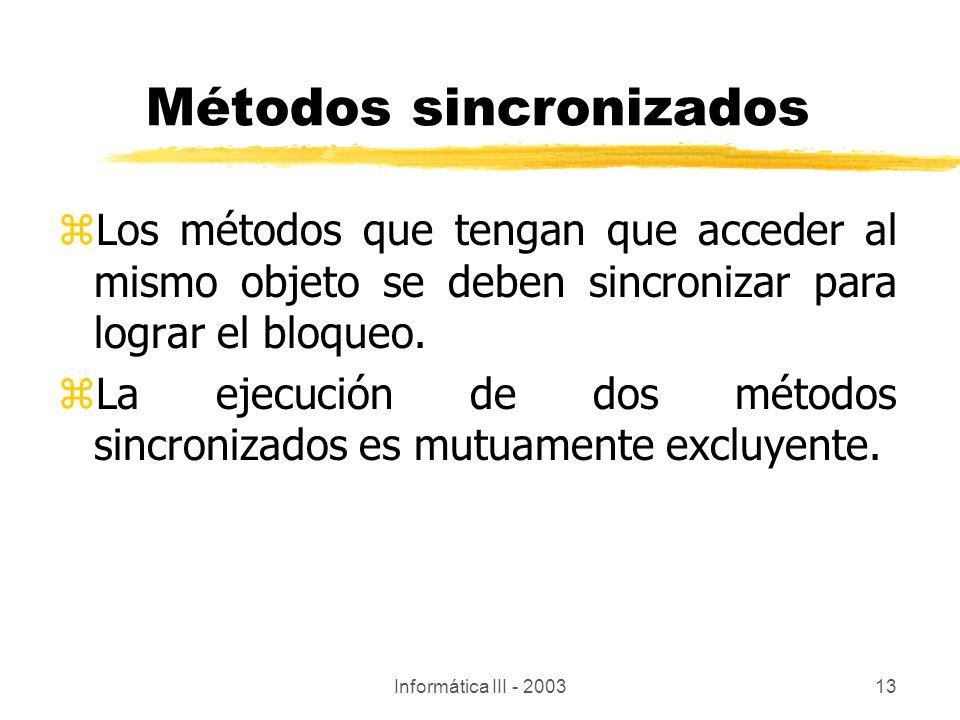 Métodos sincronizados