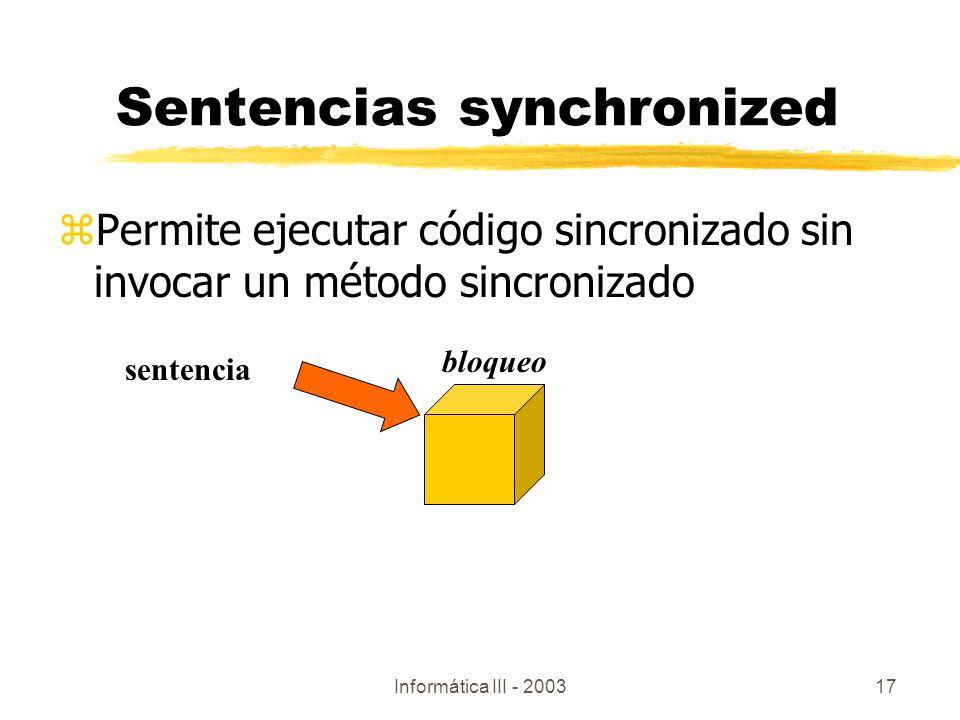 Sentencias synchronized