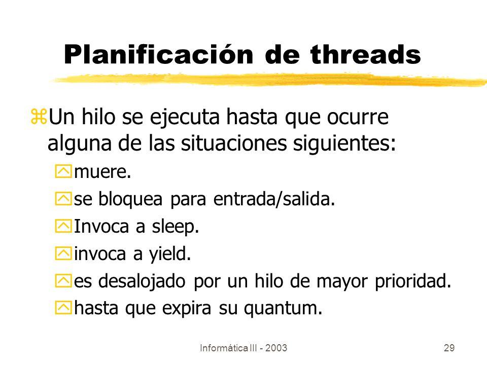 Planificación de threads