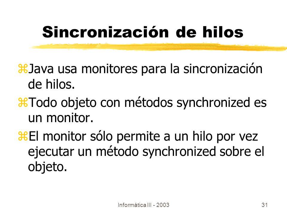 Sincronización de hilos