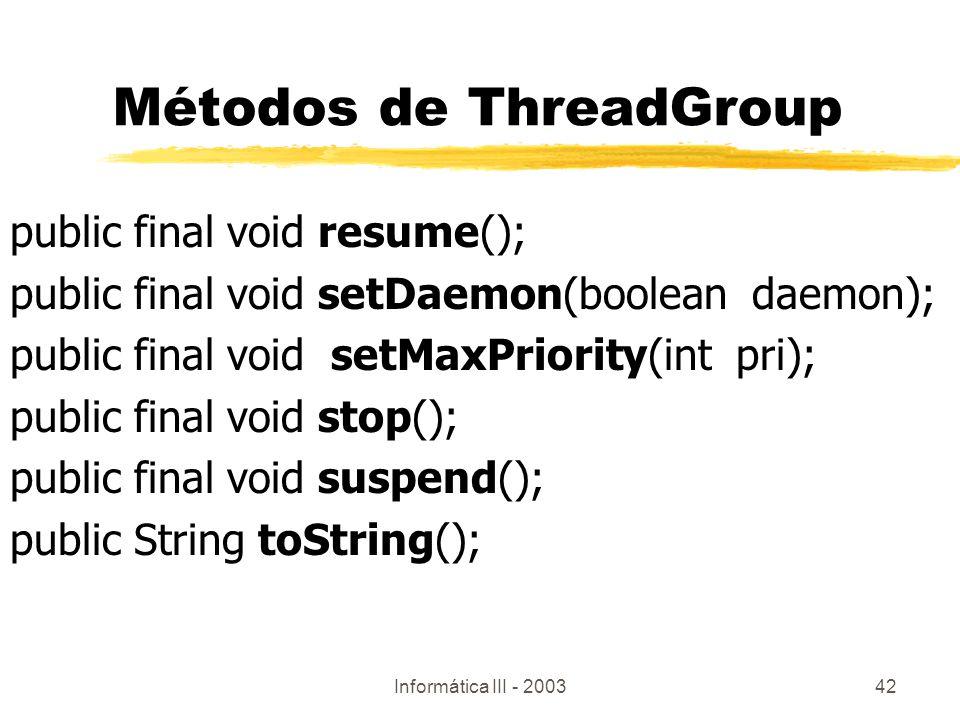 Métodos de ThreadGroup