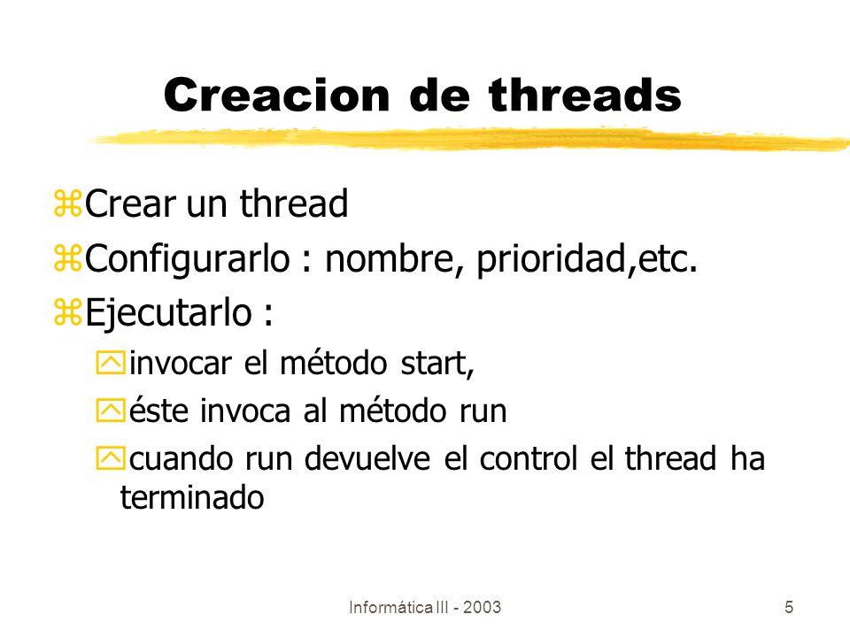 Creacion de threads Crear un thread
