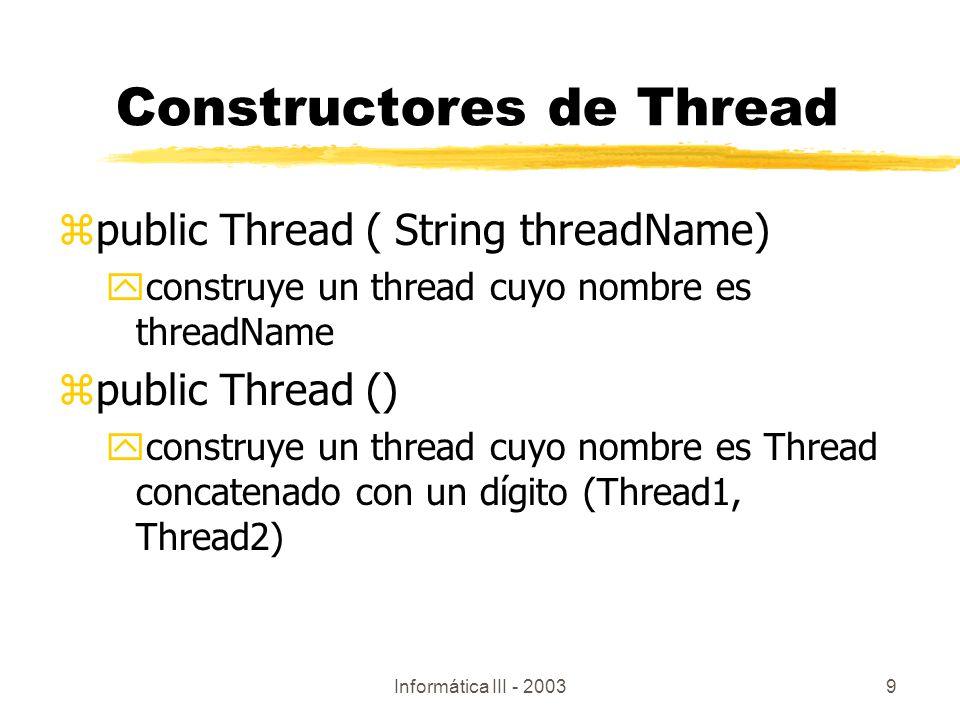 Constructores de Thread