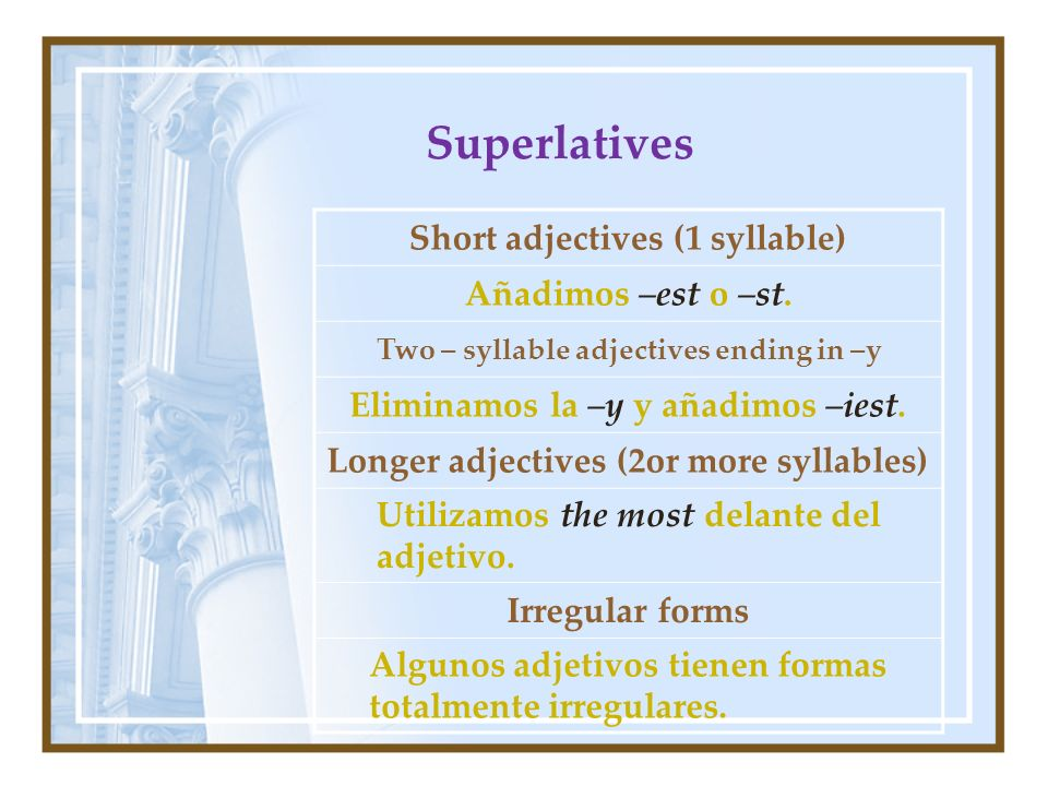 Superlatives Short adjectives (1 syllable) Añadimos –est o –st.