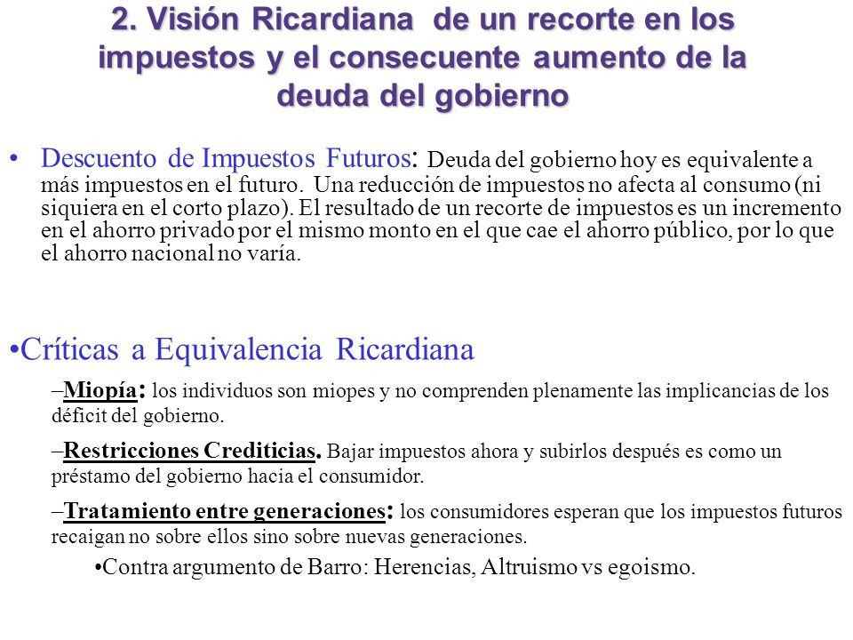 Críticas a Equivalencia Ricardiana