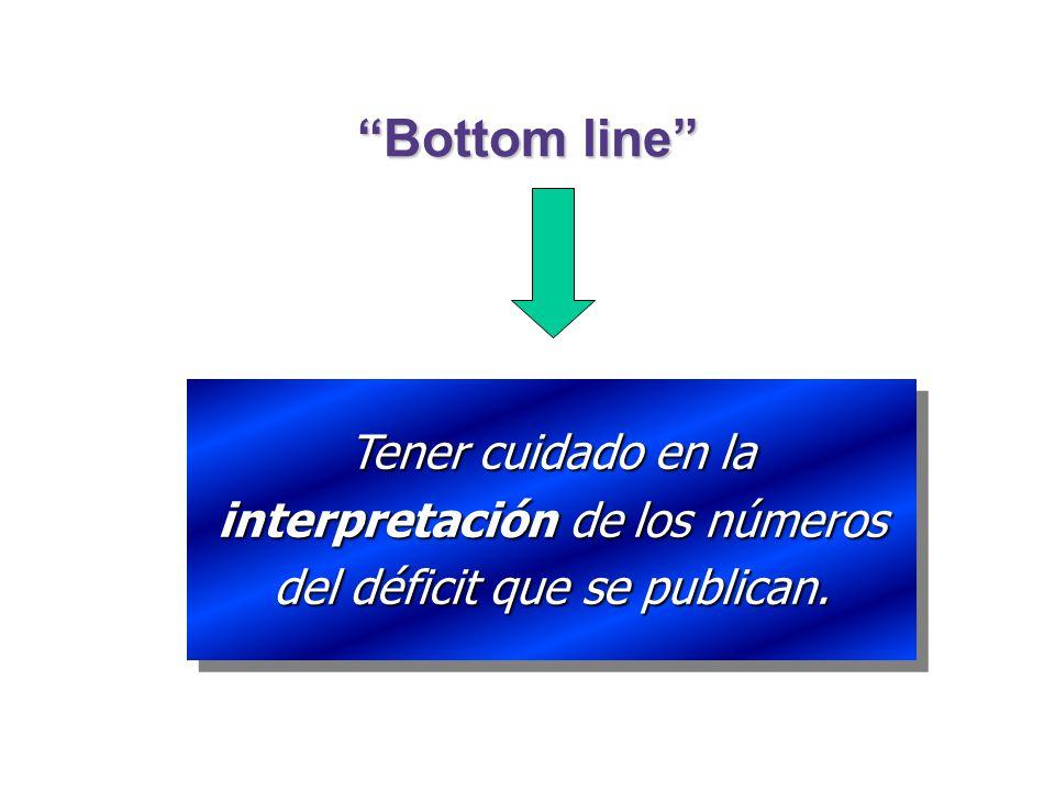 Bottom line Tener cuidado en la interpretación de los números del déficit que se publican.