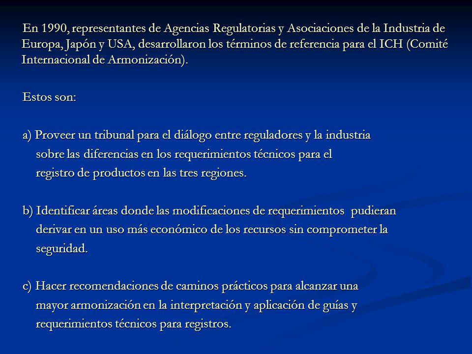 En 1990, representantes de Agencias Regulatorias y Asociaciones de la Industria de Europa, Japón y USA, desarrollaron los términos de referencia para el ICH (Comité Internacional de Armonización).
