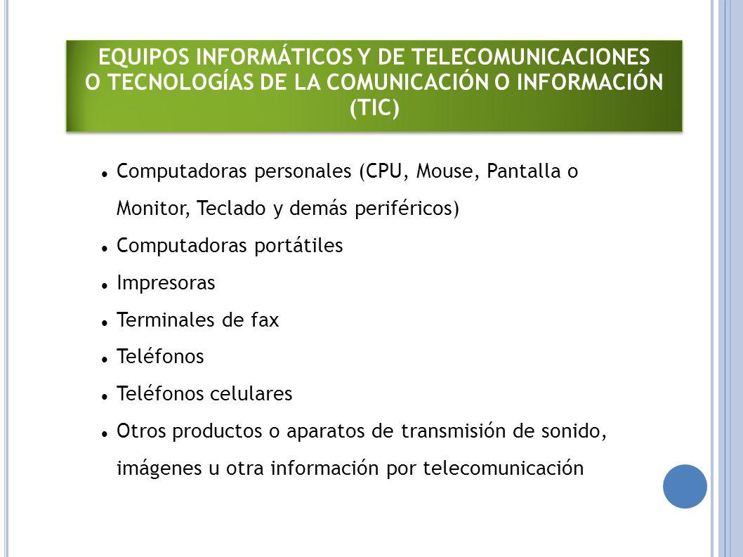 EQUIPOS INFORMÁTICOS Y DE TELECOMUNICACIONES