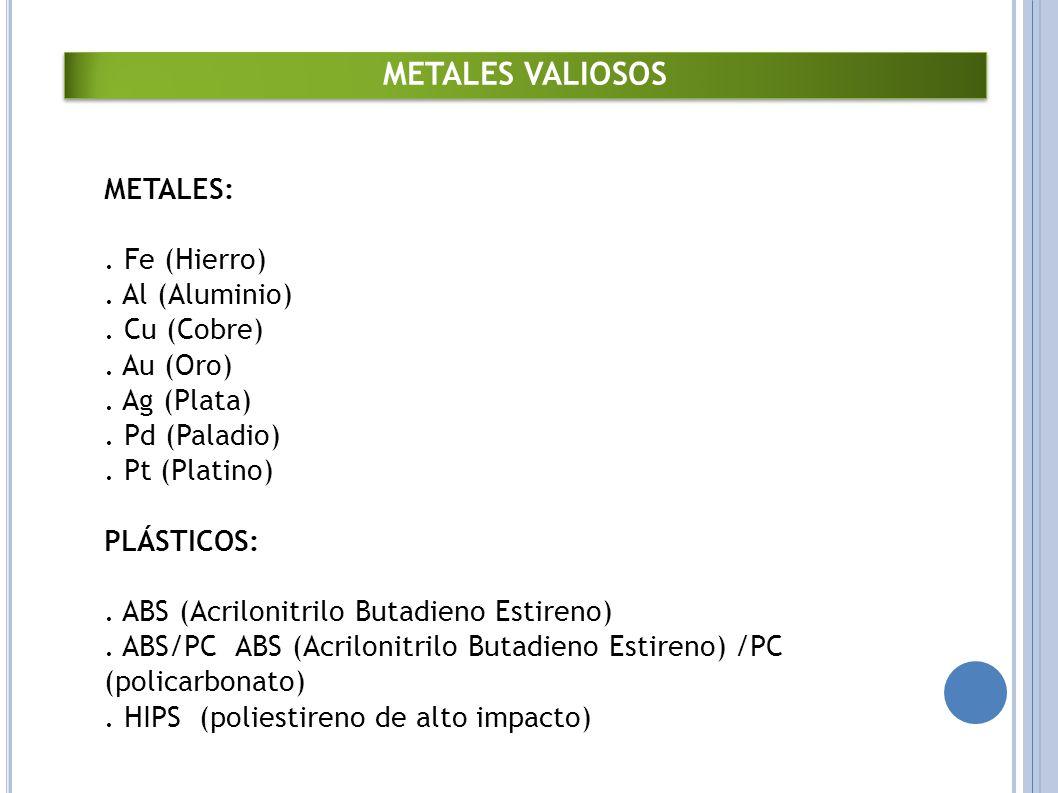 METALES VALIOSOS METALES:
