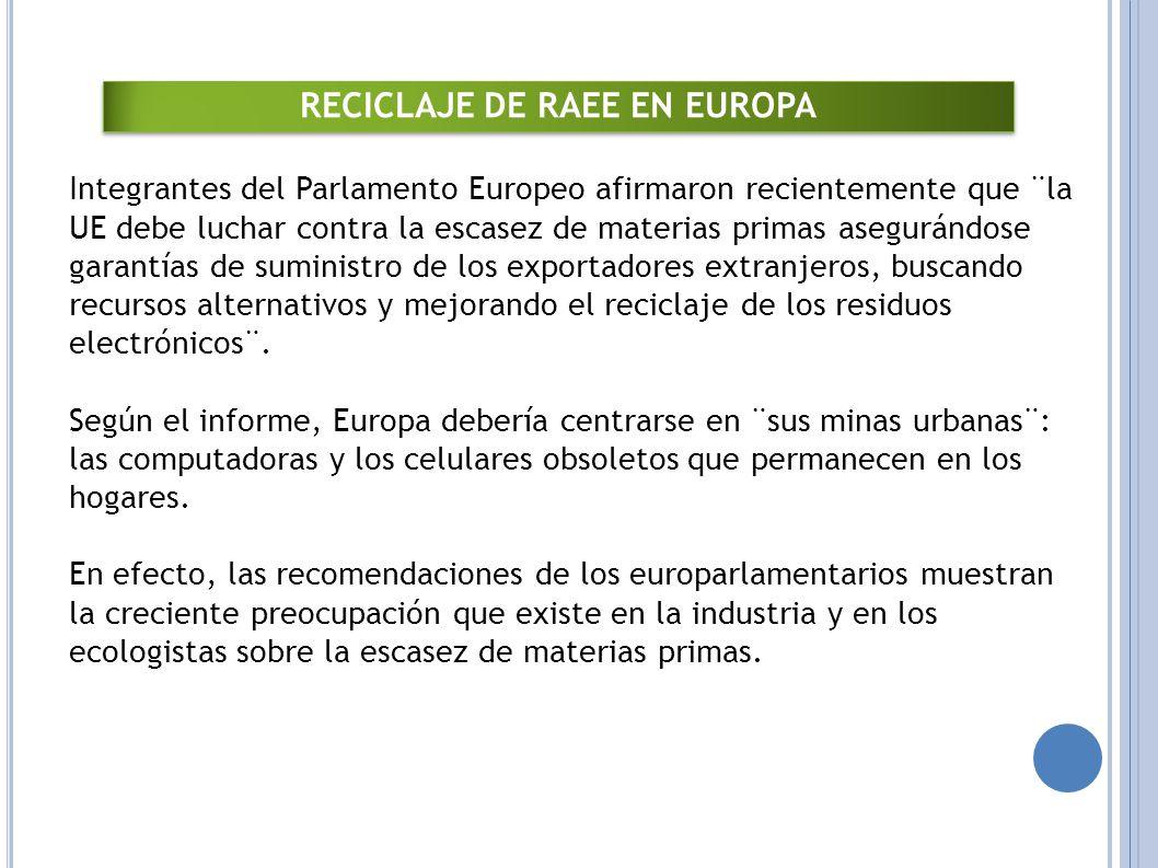 RECICLAJE DE RAEE EN EUROPA