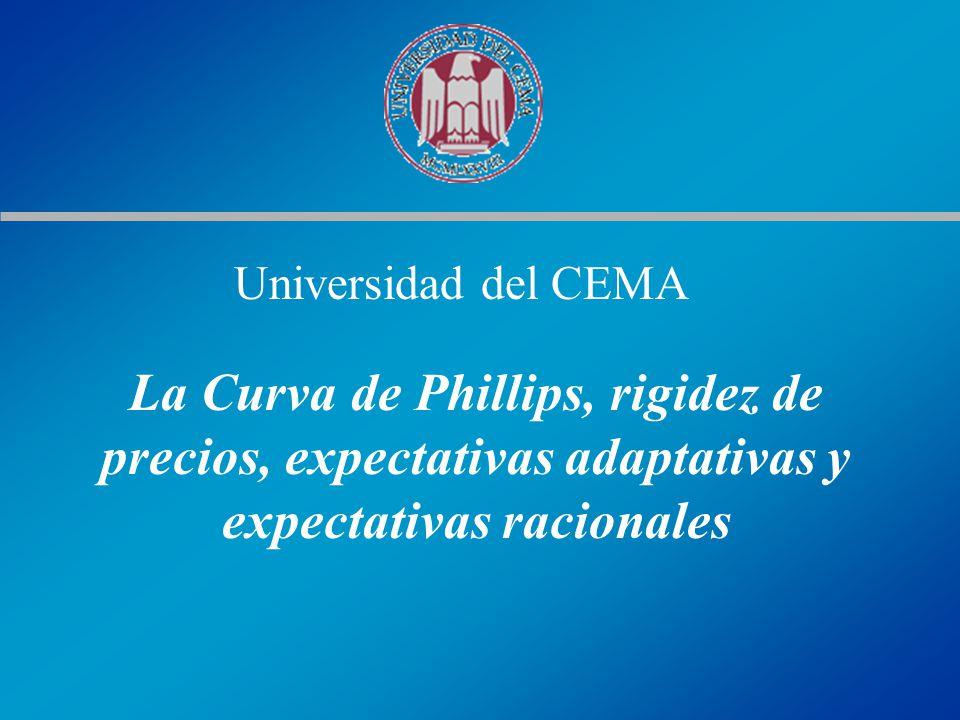 Universidad del CEMA La Curva de Phillips, rigidez de precios, expectativas adaptativas y expectativas racionales.