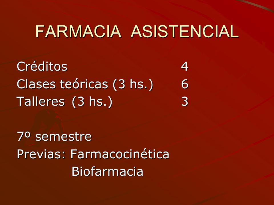 FARMACIA ASISTENCIAL Créditos 4 Clases teóricas (3 hs.) 6