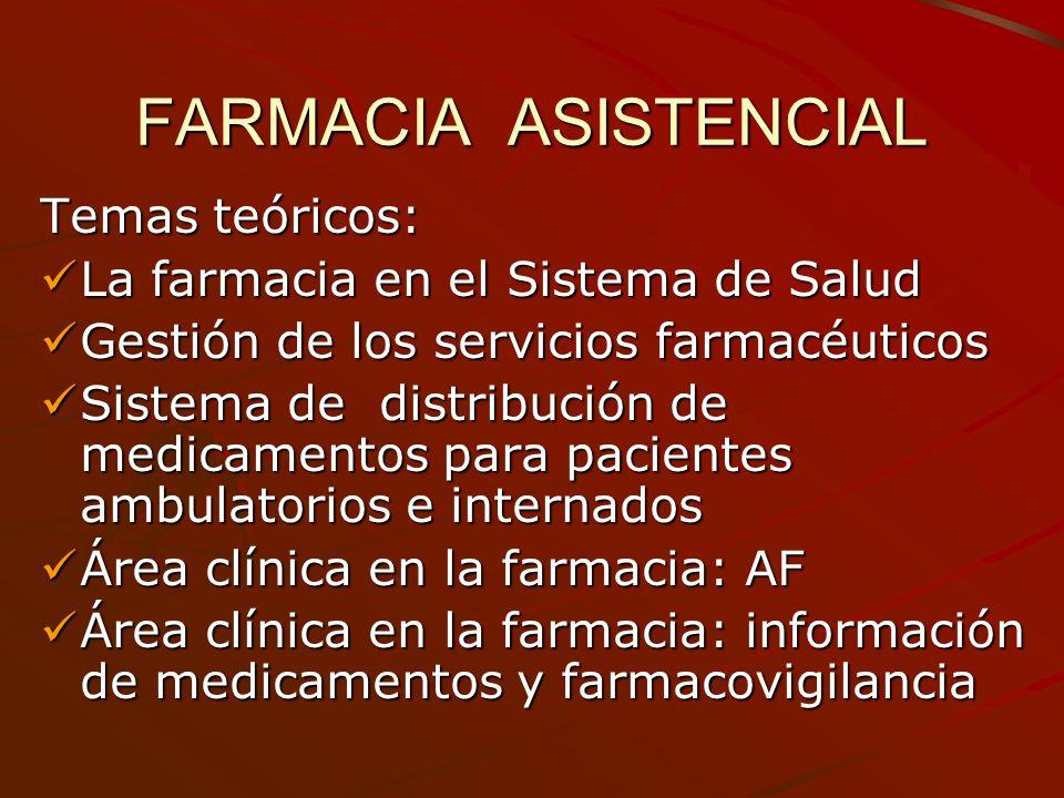 FARMACIA ASISTENCIAL Temas teóricos: