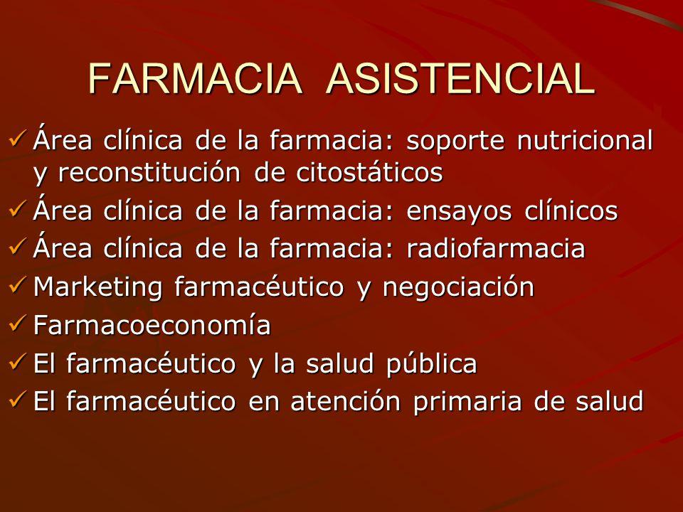 FARMACIA ASISTENCIAL Área clínica de la farmacia: soporte nutricional y reconstitución de citostáticos.