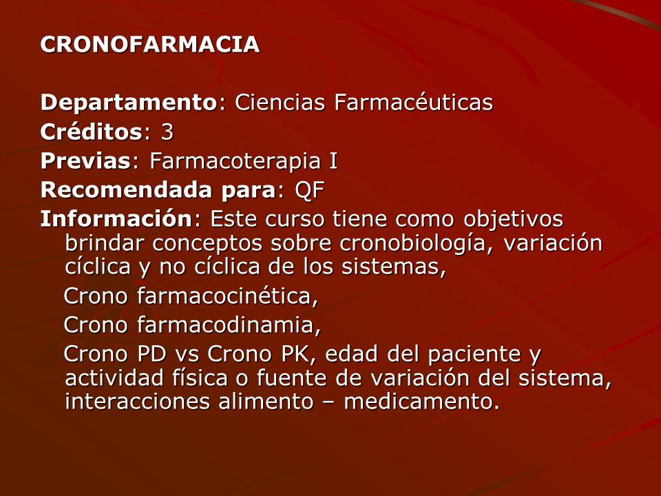CRONOFARMACIA Departamento: Ciencias Farmacéuticas. Créditos: 3. Previas: Farmacoterapia I. Recomendada para: QF.