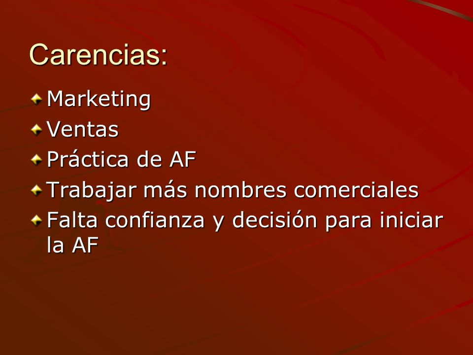 Carencias: Marketing Ventas Práctica de AF