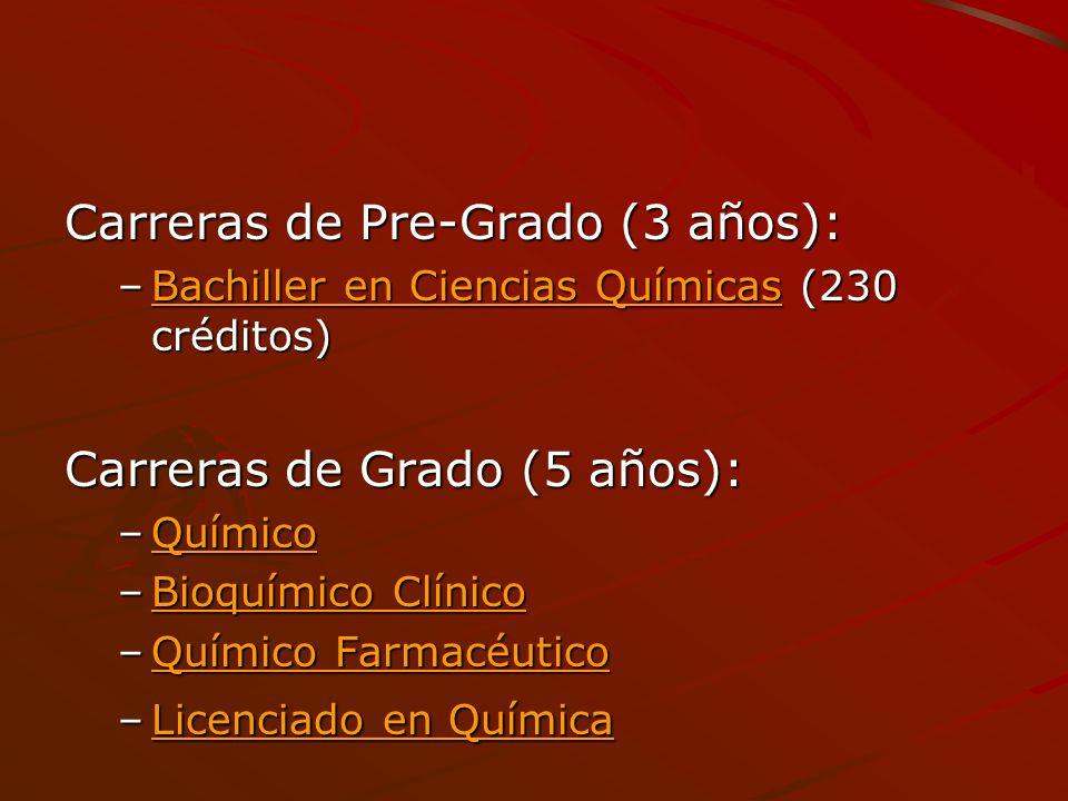 Carreras de Pre-Grado (3 años):
