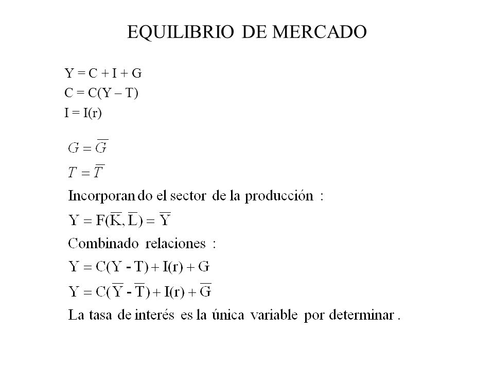 EQUILIBRIO DE MERCADO Y = C + I + G C = C(Y – T) I = I(r)
