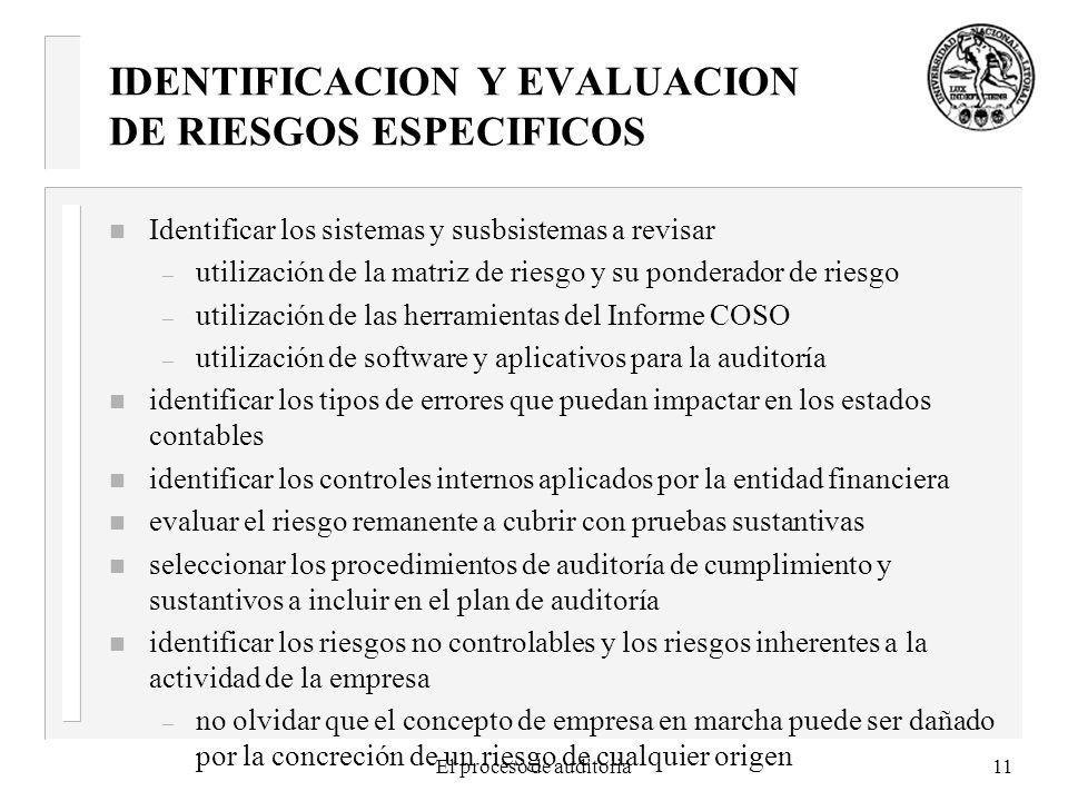 IDENTIFICACION Y EVALUACION DE RIESGOS ESPECIFICOS