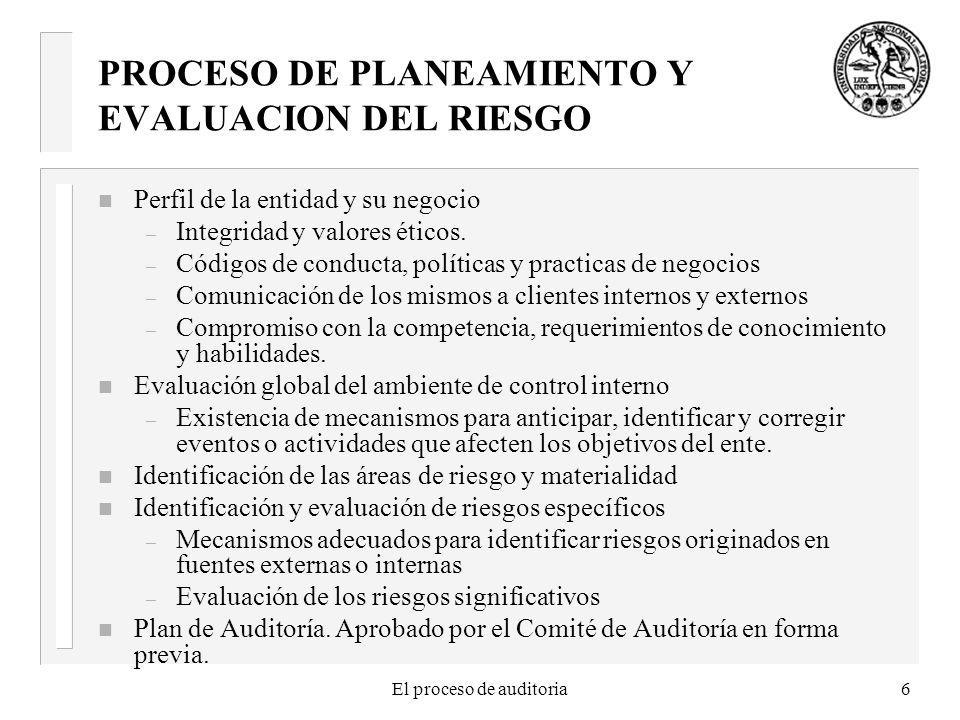 PROCESO DE PLANEAMIENTO Y EVALUACION DEL RIESGO