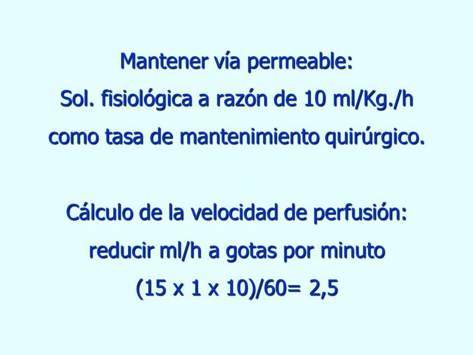 Mantener vía permeable: Sol. fisiológica a razón de 10 ml/Kg
