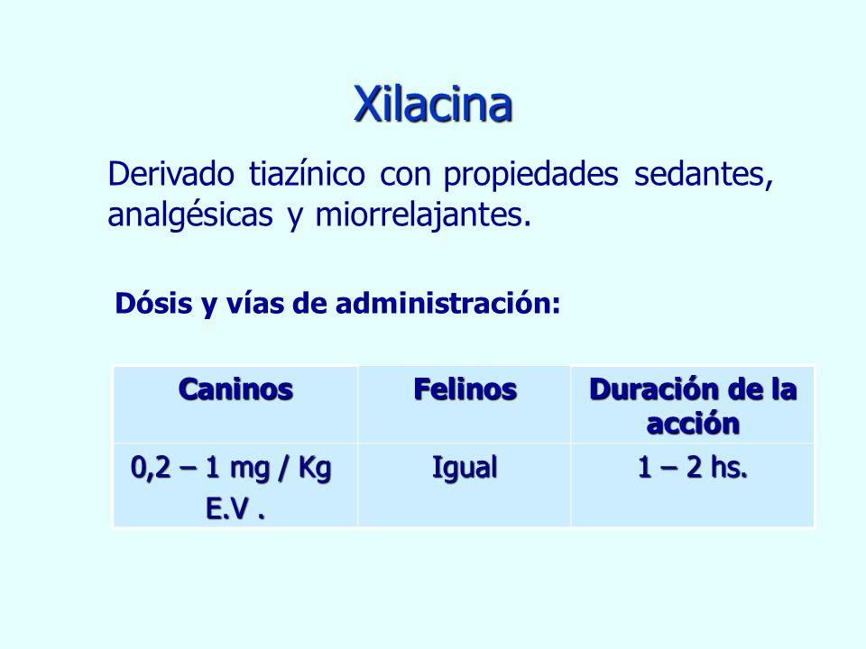 Xilacina Derivado tiazínico con propiedades sedantes, analgésicas y miorrelajantes. Dósis y vías de administración: