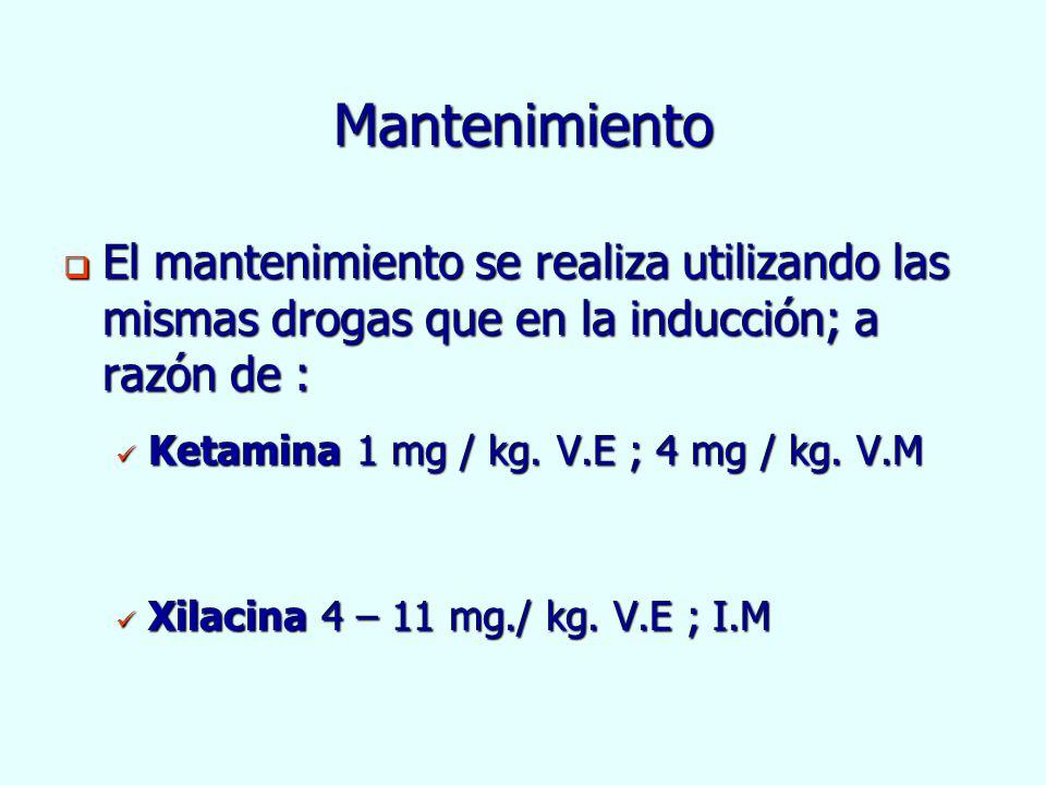 Mantenimiento El mantenimiento se realiza utilizando las mismas drogas que en la inducción; a razón de :