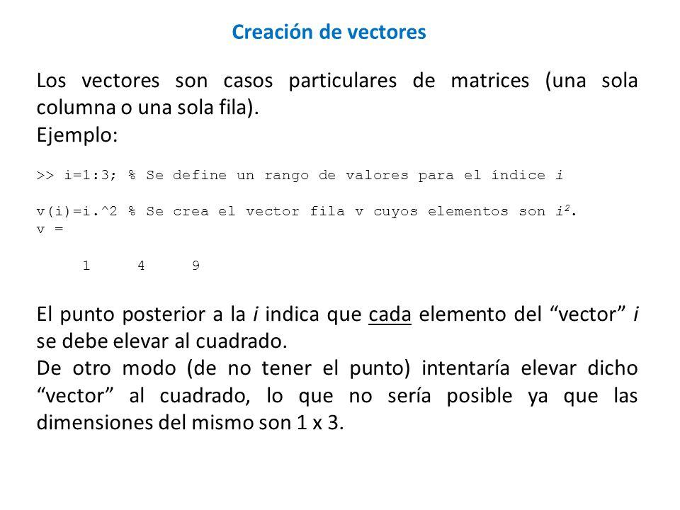 Creación de vectores Los vectores son casos particulares de matrices (una sola columna o una sola fila).