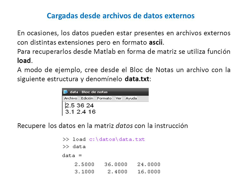 Cargadas desde archivos de datos externos