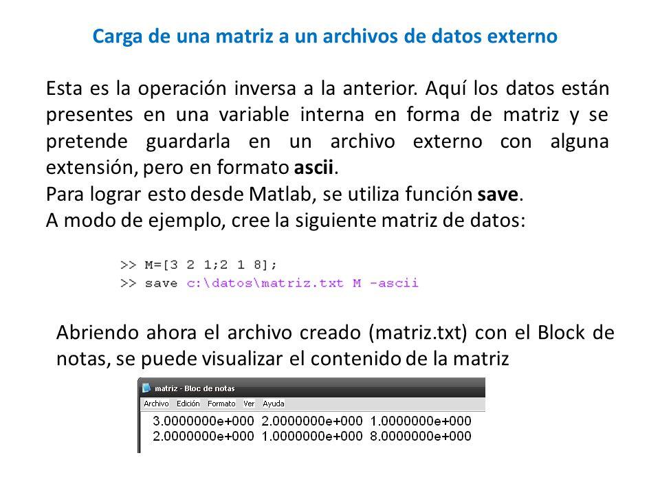 Carga de una matriz a un archivos de datos externo
