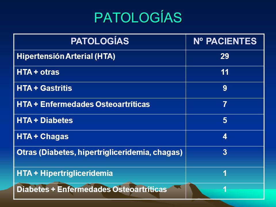 PATOLOGÍAS PATOLOGÍAS Nº PACIENTES Hipertensión Arterial (HTA) 29