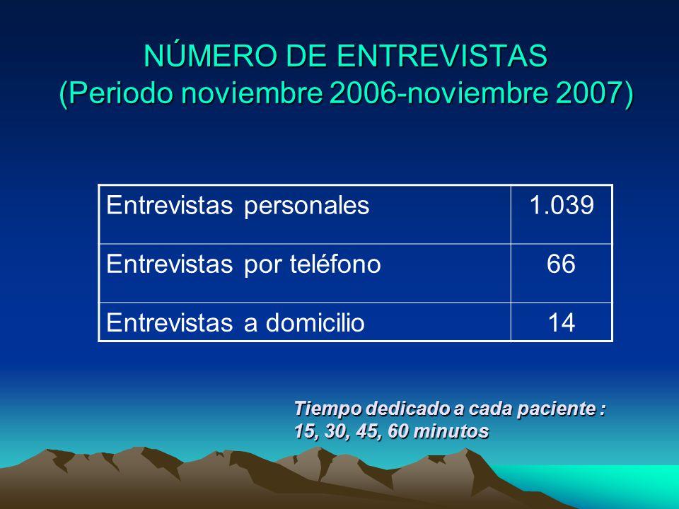 NÚMERO DE ENTREVISTAS (Periodo noviembre 2006-noviembre 2007)