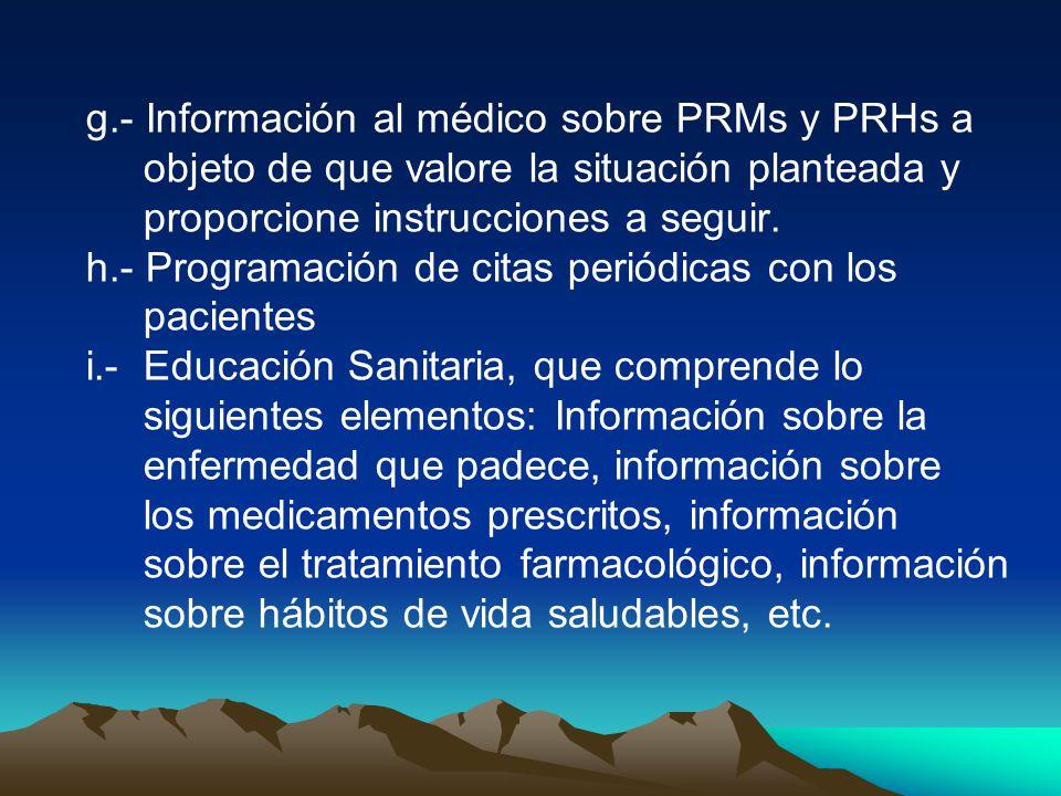 g.- Información al médico sobre PRMs y PRHs a