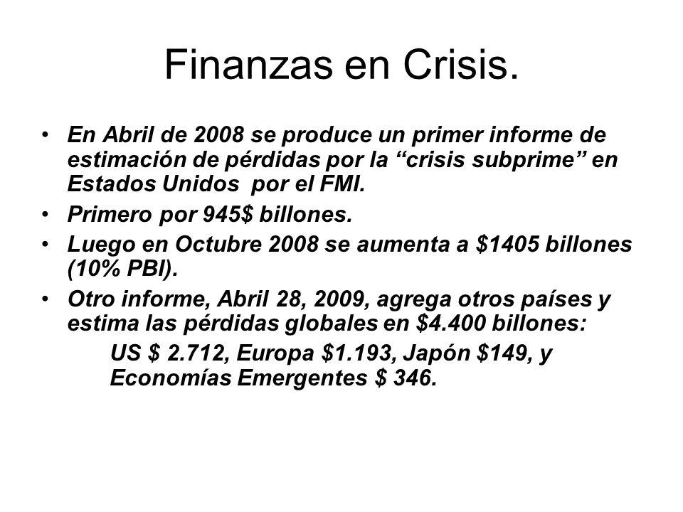 Finanzas en Crisis. En Abril de 2008 se produce un primer informe de estimación de pérdidas por la crisis subprime en Estados Unidos por el FMI.