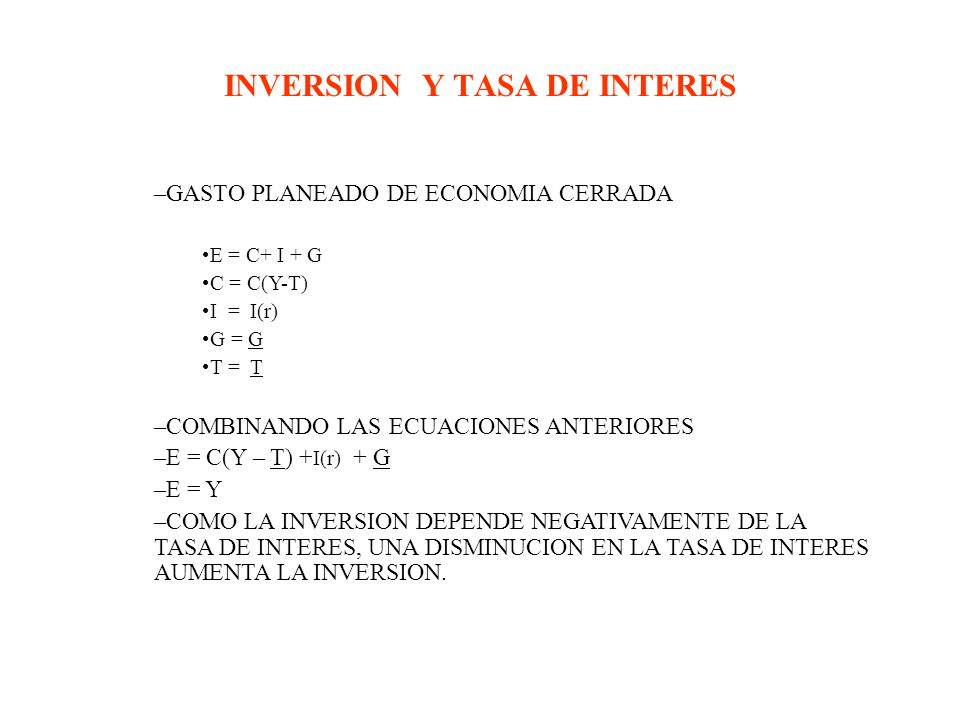 INVERSION Y TASA DE INTERES