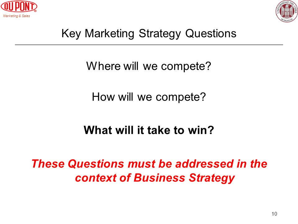 Key Marketing Strategy Questions