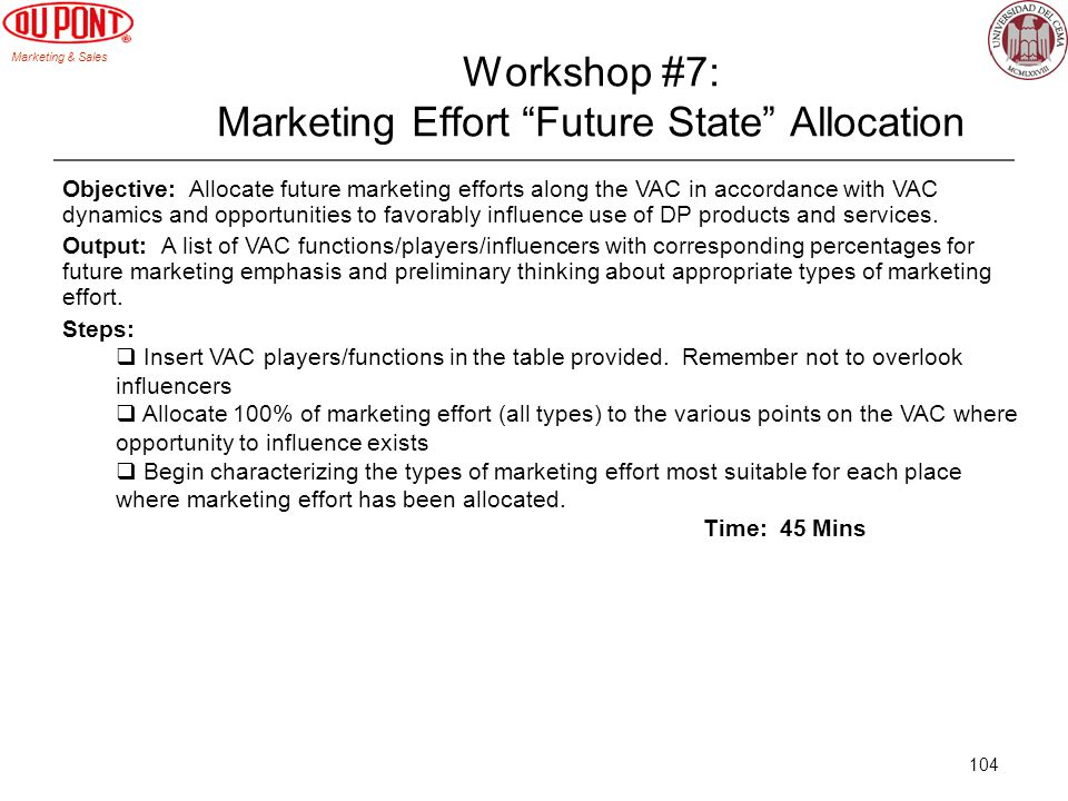 Workshop #7: Marketing Effort Future State Allocation
