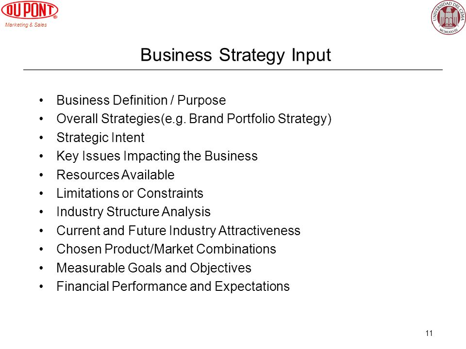 Business Strategy Input
