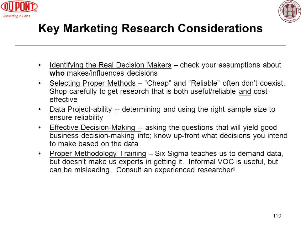 Key Marketing Research Considerations