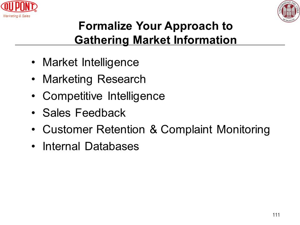 Formalize Your Approach to Gathering Market Information